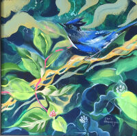 Stellar Jay in the Honeysuckle by Christine Hannegan