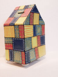 Patchwork House Bank by Michelle Mills